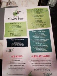 Page du menu avec la formule du midi à partir à partir de 13 €,le menu chti à 22€ et le menu opale à 31.90€