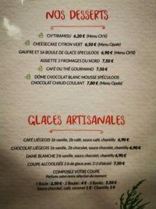 La carte des dessert