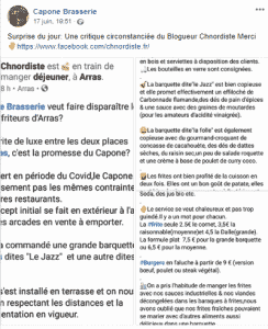 Voici la critique la capture d'écran de la critique Facebook & Instagram publié sur le Facebook officiel du Capone à Arras
