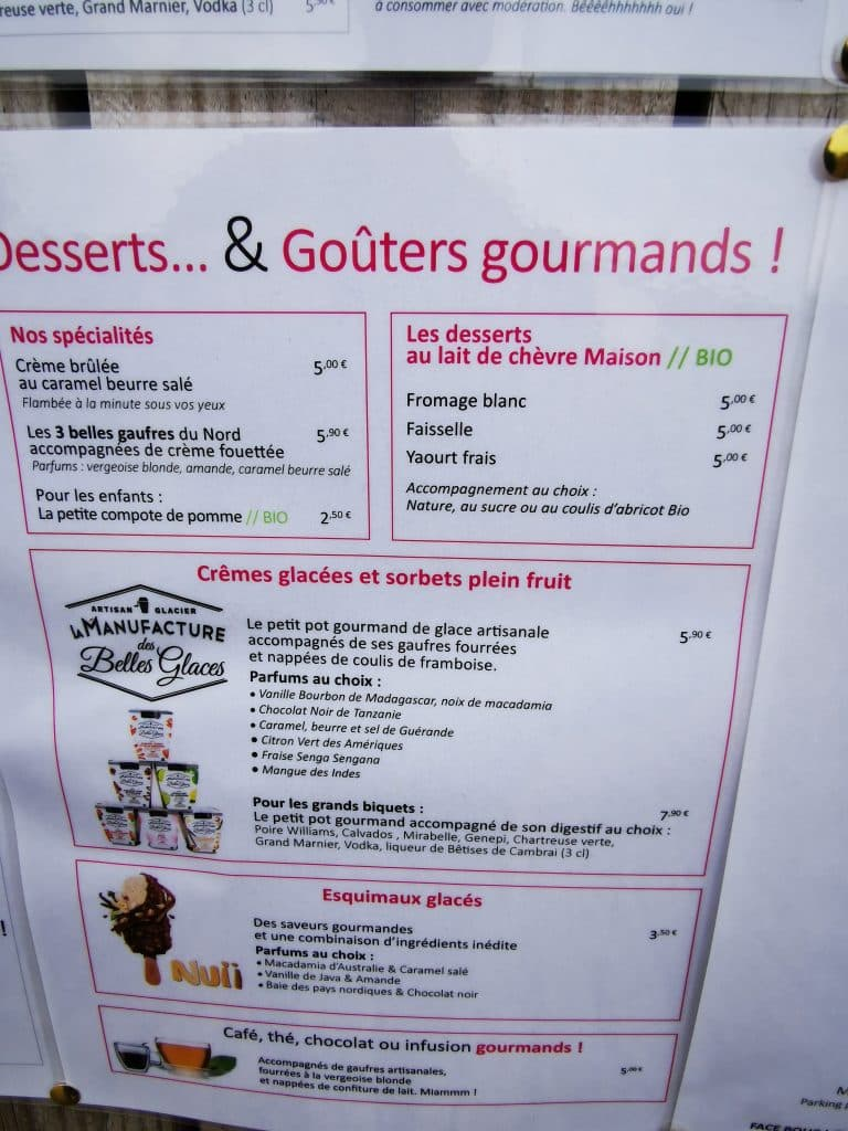 Menu des chevrettes La carte des desserts