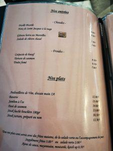 Menu du cheval blanc des entrées et plats au Cheval Blanc à Naours
