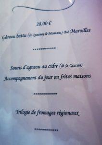 Menu à 28 euros du cheval blanc des entrée, plat , dessert au Cheval Blanc à Naours