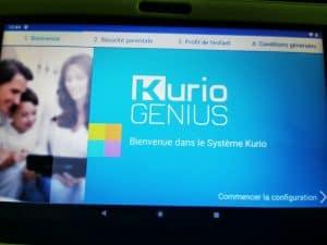 écran de paramétrage de la Kurio Gulli Ultra 7